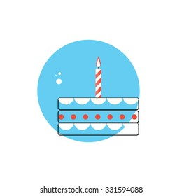 Line Icon with Flat Graphics Element of Birthday Cake Illustration