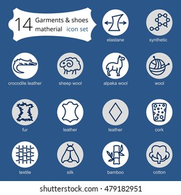 line icons of fabric feature, garments property symbols. Elements - cotton, wool, waterproof, uv protection. Linear wear labels, textile industry pictogram.