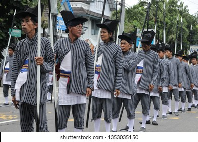 a line up of a jogjakarta traditional soldier that located in the city of Jogjakarta, Jogjakarta Province, Indonesia.  they were lining up to welcoming president of indonesia.  23 March, 2019