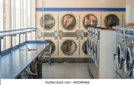 line of laundry machine in the store