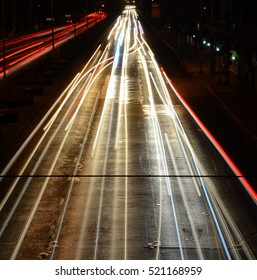 Line of light from cars are driving in the night