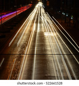 Line of light from cars driving on the road in the night