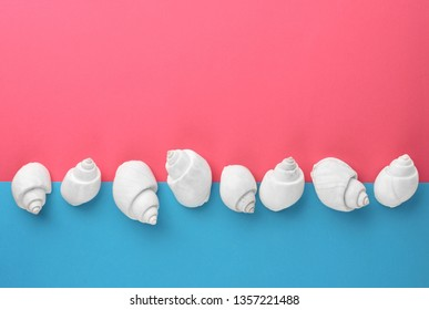 Line made of seashells in the middle of blue and pink background with empty space, summertime concept