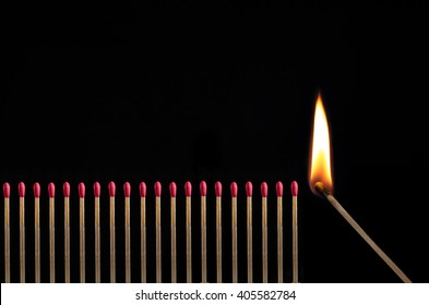 Line of matches, one is igniting them