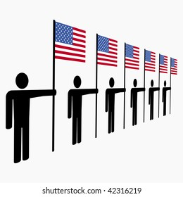 line of men holding American flags illustration JPEG