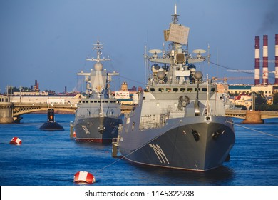A line of modern russian military naval battleships warships in the row, northern fleet and baltic sea fleet