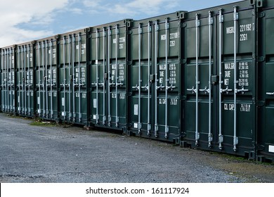 line of new freight containers being used a a self storage solution