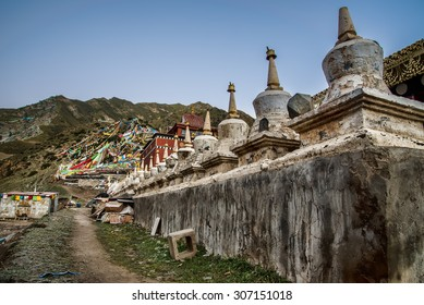 Line of old stupas in Qinghai China