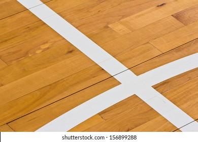 line on wooden floor basketball court