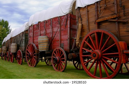 Line of ore wagons used in late 1800's to haul gold ore from Idaho mines