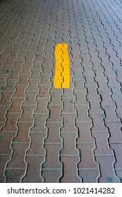 Line painted on walkway