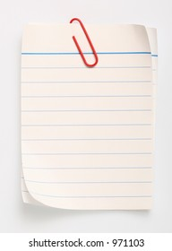 line paper with a red clip (with clipping path)