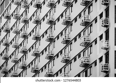 Line pattern of Architecture geometric. Details of balcony building. Modern wall. Polygonal structure. Black and white of Abstract background.