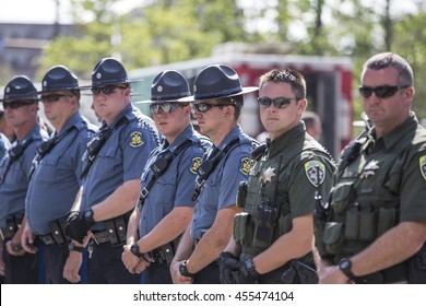 A Line of Police Officers at Republican National Convention / A Line of Police Officers at Republican National Convention / Cleveland OH, USA - July 19, 2016: