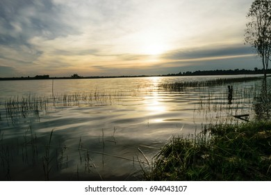 a line of raised water that moves across the surface of the river,with sunset background,and the coloured part of the sky where the sun is disappearing at the end of the days,beautiful landscape