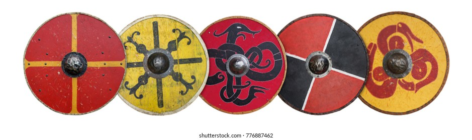 A line of round Viking shields formed into a shield-wall.