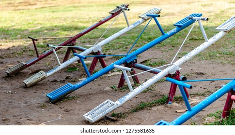 Line of seesaws in local play ground