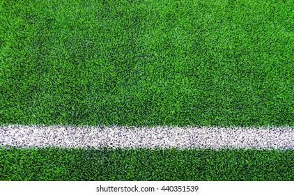 Line sides of artificial grass football (soccer) field