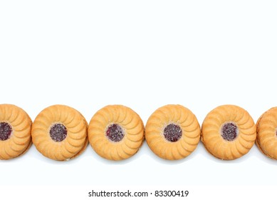 A Line of Strawberry Biscuits with Space for Text