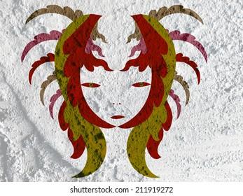 Line Thai art on wall texture background design