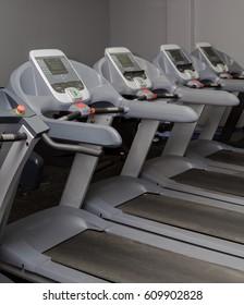 A line of treadmills