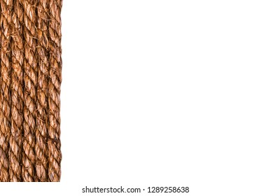 Line of a twisted decoration linen rope string isolated on white background. Empty space. Copy space