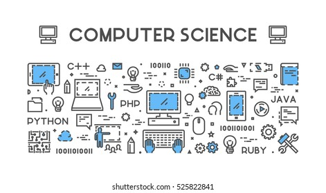 Line Web Concept For Computer Science Banner Education