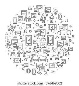 Line web concept for messenger. Round modern linear banner.