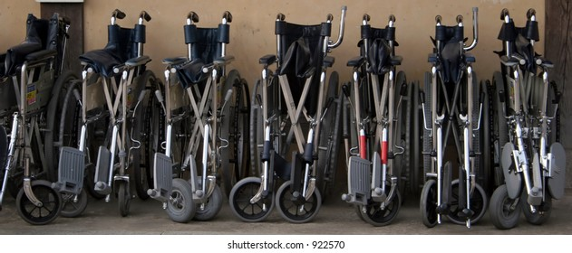 A line of wheelchairs
