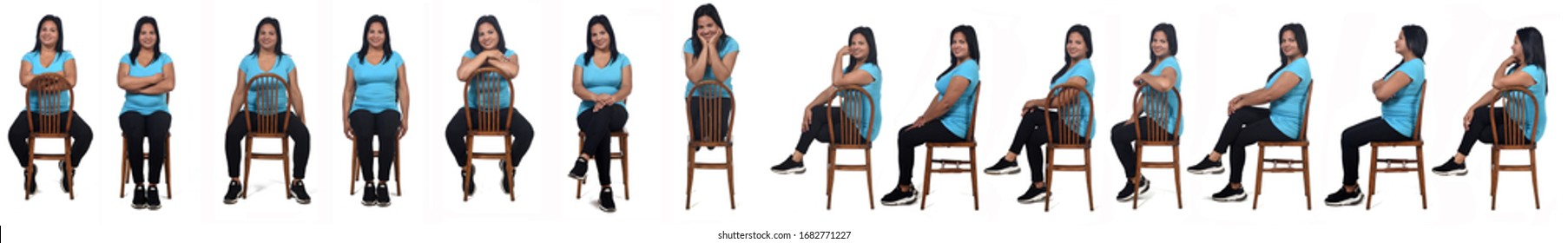 line of woman sitting on chair on white background