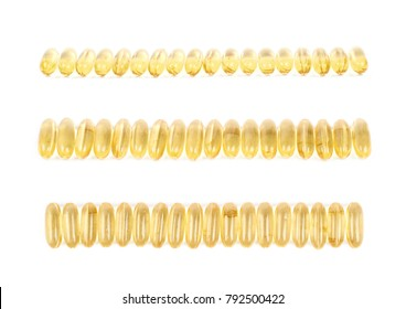 Line of yellow softgel pills isolated over the white background, set of three different foreshortenings
