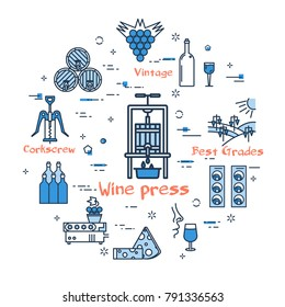 Linear blue round concept of Wine press. Thin line icons of process of producing good wine and storage. Modern web banner on white background