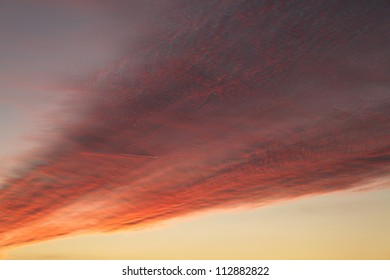 linear clouds at sunset
