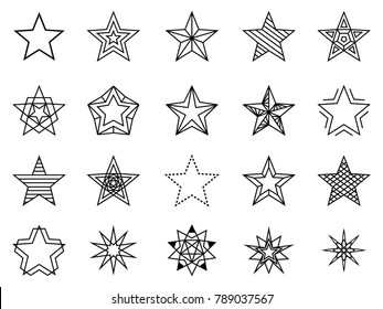 Linear stars set. Bethlehem and favorite sign, line shining and brightness star set