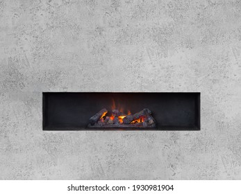 Linear water vapor fireplace placed in wall niche