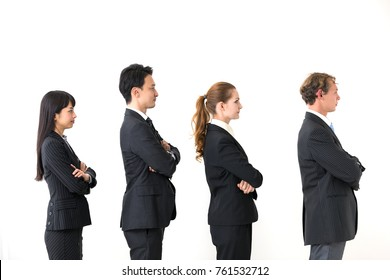 Lined businessman and businesswoman.