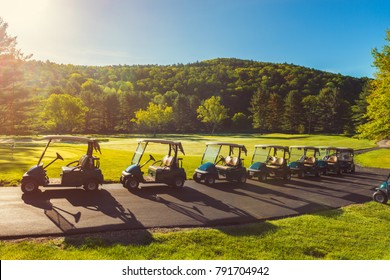 Lined Up Golf Carts at Golf Course