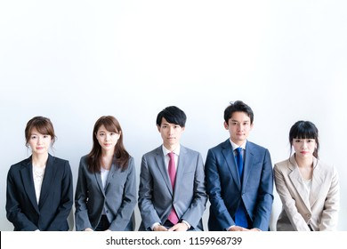Lined group of businessperson.