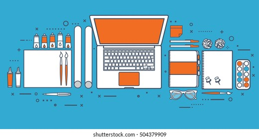 Lined, outline.Graphic and web design style.Designer workplace with tools.Web development,user interface design.UI.Digital drawing.Graphic design trends and ideas.Motion graphic software,tutorial