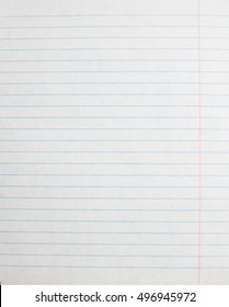 Lined paper sheet. Blank template of notebook page. Linear background.