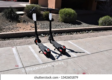 Lined parking spaces for eScooters at ASU Arizona State University Tempe Arizona 3/16/19