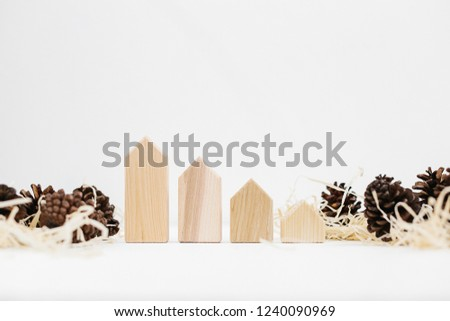 Lined Set Pinecones On Wood Shavings Stock Photo (Edit Now