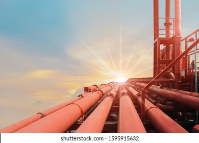 lined of steel long pipe On deck of chemical tanker ship with pipe line connection while the ship is at sea