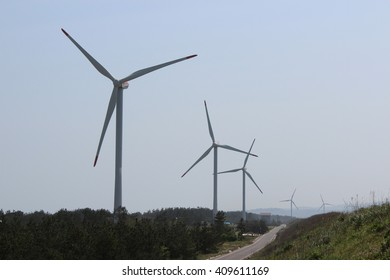 Lined wind mill in Japan