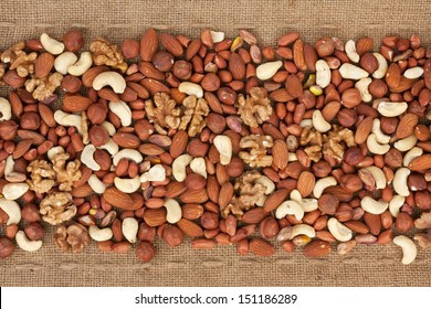 Line,dried nuts  and burlap , can be used as background