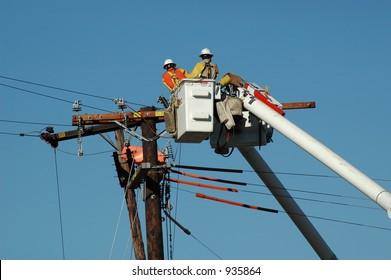 Linemen working