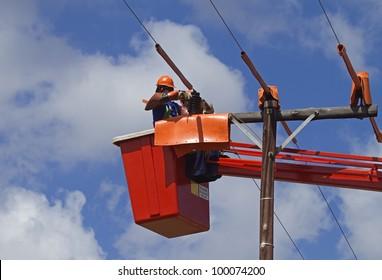 Linemen working on powerline