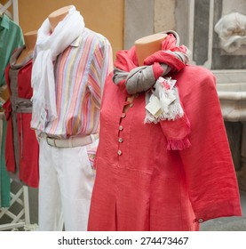 Linen clothes typical fashion of the Sorrento peninsula.