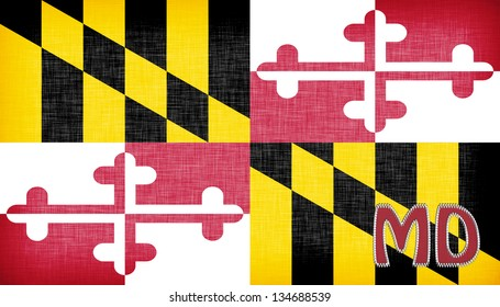 Linen flag of the US state of Maryland with it's abbreviation stitched on it