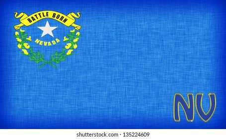 Linen flag of the US state of Nevada with it's abbreviation stitched on it